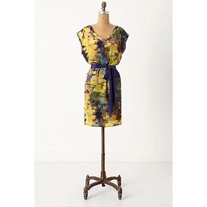 Anthropologie Maeve Silk Abstract Shift Dress